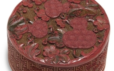 A CARVED POLYCHROME LACQUER 'DOUBLE-GOURD' CIRCULAR BOX AND COVER QING DYNASTY, 18TH CENTURY