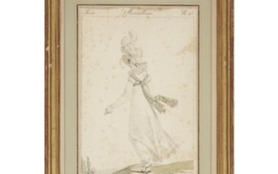 A pair of French hand-colored fashion engravings, Merveilleuse N....