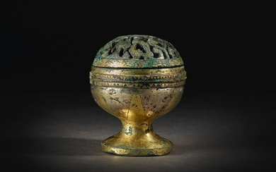 A SPLENDID AND RARE GOLD AND SILVER-INLAID BRONZE CENSER HAN DYNASTY
