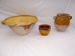 3 PC. MISC. LOT OF GLAZED TERRA COTTA VESSELS