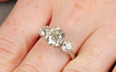 An 18ct gold cushion-shape diamond ring, with old-cut diamond sides.