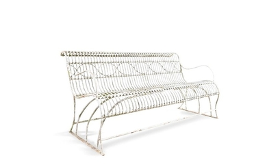 A 19TH CENTURY WIRE WORK GARDEN BENCH, the rounded…