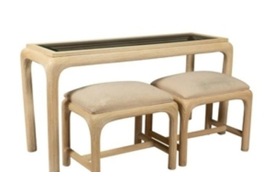 American Drew Console & Pair Nesting Benches