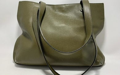 CHANEL SIGNED CAVIAR LEATHER OLIVE GREEN PURSE BAG