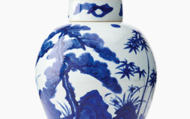 A Chinese blue and white 'Three Friends of Winter' jar and cover