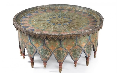 A large Indian polygonal wooden table