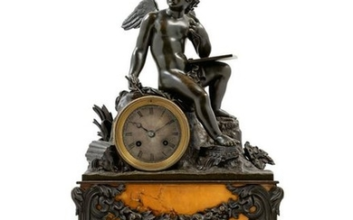 A Louis Philippe Bronze and Marble Figural Mantel