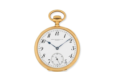 Patek Philippe. An 18K gold keyless wind open face pocket watch
