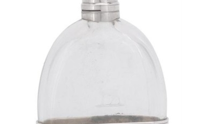 A Victorian silver and glass oval spirit flask by William Summers