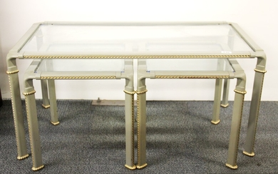 A contemporary painted metal and brass coffee table with two additional side tables, size 100 x 51 x 47cm.
