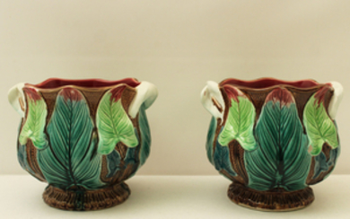 PAIR OF FRENCH MAJOLICA JARDINIERES