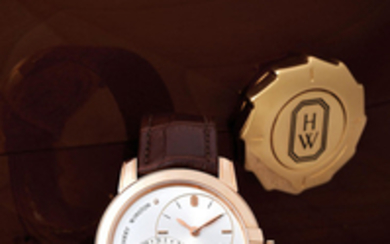 Harry Winston. A Pink Gold Wristwatch with Moonphases and Date with Eccentric Dial