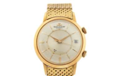 Jaeger-LeCoultre. A Fine Yellow Gold Centre Seconds Wristwatch with Alarm, Date and Gay Freres Bracelet