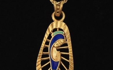Ladies' Gold and Enamel Blessed Madonna Pendant on Chain