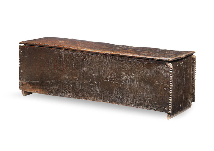 An early 17th century large oak boarded chest, English or Welsh