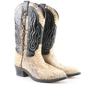 Lot Art | Men's Texas Boot Company Python and Leather Cowboy