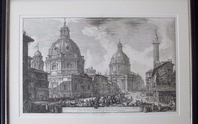 Piranesi, Giovanni: TWO CHURCHES NEAR TRAJAN'S COLUMN, Year 1762.