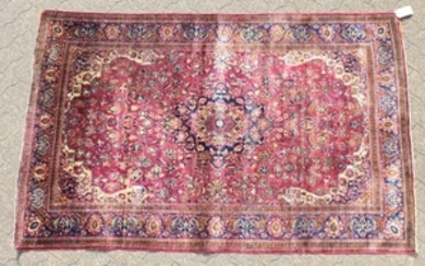 A GOOD PERSIAN KASHAN SILK RUG CIRCA 1930, with an