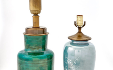 Group of Four Green and Blue-Green Glazed Ceramic Lamps