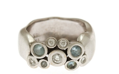 Lene Visholm: Diamond and aquamarine ring set with numerous brilliant-cut diamonds and faceted aquamarines, mounted in 14k white gold. Size 54.