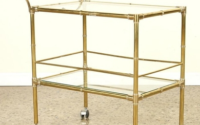 BRASS FAUX BAMBOO BAR CART WITH HANDLE C.1970