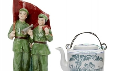 A Chinese porcelain transfer decorated Cultural Revolution...