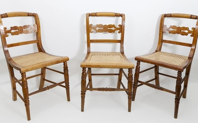 Set of Three American Federal Tiger Maple Dining Chairs, circa 1800