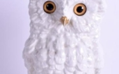 A VICTORIAN OWL PORCELAIN OIL LAMP BASE encrusted with