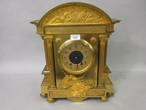19th Century French gilt brass mantel clock of architectural...