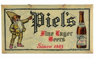 PIEL'S BEER CELLULOID ADVERTISING SIGN.