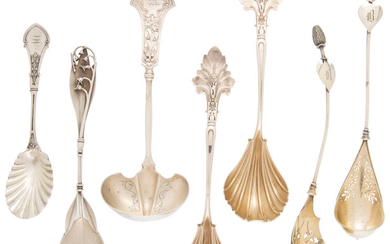 A Group of Seven American Silver and Silver-Plated Servers (late 19th-early )