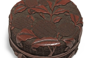 A CARVED CINNABAR LACQUER 'LYCHEE' CIRCULAR BOX AND COVER MING DYNASTY, 16TH CENTURY