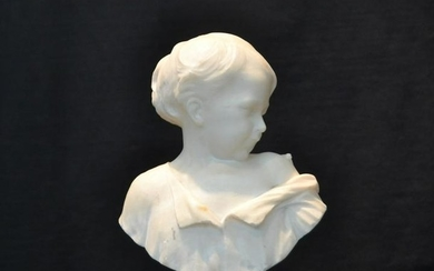 CARVED MARBLE BUST OF YOUNG GIRL SIGNED