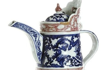 Chinese Blue White and Copper Red Monk's Cap Ewer