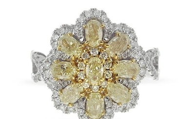 Fancy Yellow and White Diamond Ring