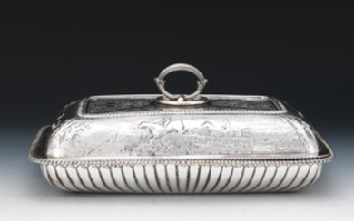 Rare George III Sterling Silver Entree Dish with Cover, Hunting Scene, by John Robins, London, dated 1801