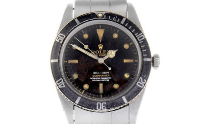 ROLEX - a gentleman's stainless steel Oyster Perpetual Submariner '4 Liner' bracelet watch.