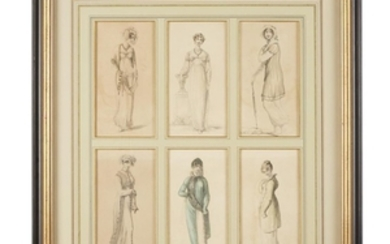 Six framed French etchings with watercolor depicting ladies' fashions...