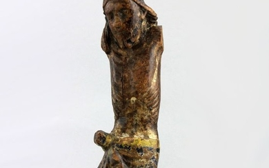 18th Century - Antique hand carved crucifix with corpus ( No arms and shins ) - Wood