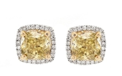 3.63ct TW Fancy Yellow Diamond Ear Studs