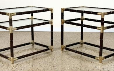 PAIR BRASS GLASS SIDE TABLES MANNER BILLY HAINES