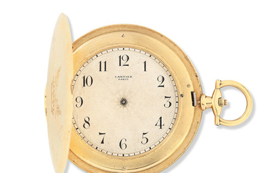 Cartier. An extremely thin 18K gold keyless wind full hunter pocket watch