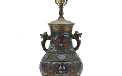 A Chinese Champleve Vase Lamp