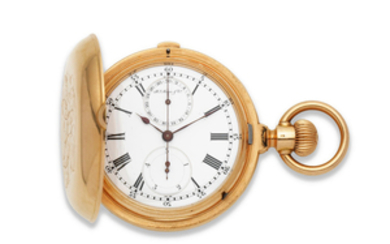 Henry Moser & Co. An 18K gold keyless wind full hunter chronograph pocket watch with 1/5th seconds