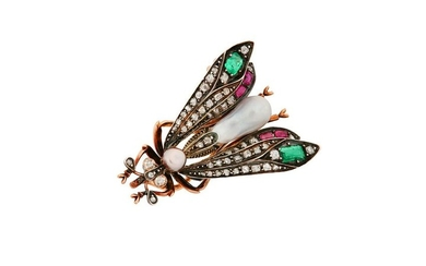 A late 19th century gem-set insect brooch