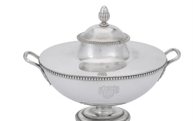 A mid Victorian electro-plated oval pedestal soup tureen and cover by James Dixon & Sons