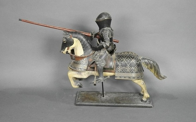 MINATURE KNIGHT STATUE ON HORSE WITH LANCE