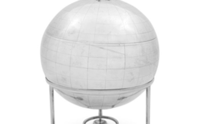 A rare George III sterling silver globe on stand,...