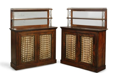 Pair of Regency style goncalo alves side cupboards