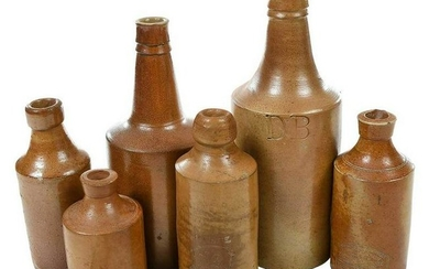 Six 19th Century Brown Stoneware Bottles